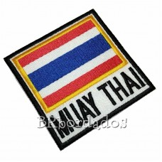 Atm210 Bandeira Tailândia Muay Thai 9x9cm Tag Patch Bordado
